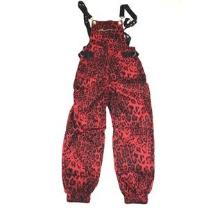 RED STREET STYLE CHEETAH PRINT OVERALLS